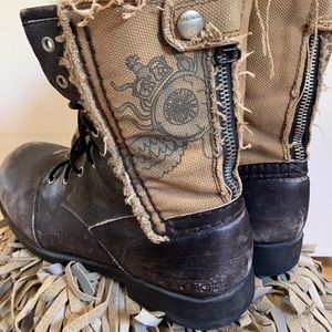Energie men's leather and fabric boots size 12